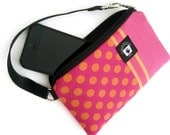 Christmas in July! 50% Off, iPhone 5 Wallet Case, Samsung Cell Phone Wristlet, Cell Phone PADDED Gadget Cover, Hot Pink and Orange Dots