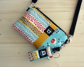 Cute iPhone Case Hip Bag, Set, Crossbody Strap, Back Pocket, Mini Key Fob, Vintage Charm in Turquoise, Yellow, and Red