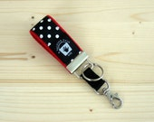 Red Mini Key Fob,  Lots of Dots, Red and Black