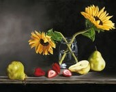 Large Kitchen Art...Sunflowers in Mason Jar on Black with Pears and Strawberries...by Kimberly Fox....FINE ART PRINT...photorealism