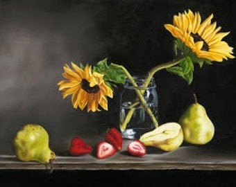 Large Kitchen Art...Sunflowers in Mason Jar on Black with Pears and Strawberries...by Kimberly Fox....CANVAS PRINT...photorealism