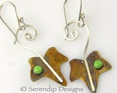 Patina Silver Ivy Leaf Earrings with Gaspeite, Hand Crafted, OOAK