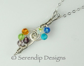 Mothers Necklace Argentium Sterling Silver Seven Crystal Birthstones Grandmothers Pendant, Custom 7 Birthstone Necklace