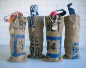 Rustic Wedding Favors - Burlap Wine Totes - Hostess Gifts Bridesmaids - Blue Navy Lavender Gray - Set of 4