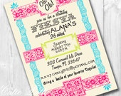 Mexican Fiesta Invitations, Printable Custom Invitations by Cutie Putti Paperie