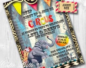 Circus Invitations in Primary Colors, Printable Custom Invitations by Cutie Putti Paperie
