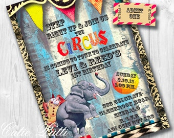 Circus Invitation | Circus Party Invites | Circus Invitations | Circus Invite | Circus Themed Party | Circus Birthday | Vintage Circus