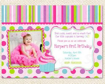 Cupcake First Birthday Invitations