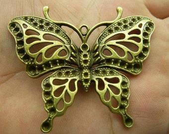3pcs 48x60mm Antique Bronze Heavy Huge Butterfly Charm Pendant c5565