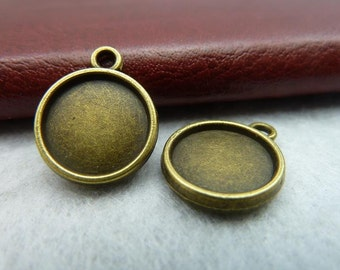 60pcs 12mm GBB Antique Bronze Round Double Side Cameo Cabochon Base Settings D109