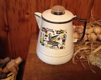 Pyrex Coffee Pot Porcelain Enamelware w/Rooster Signed Susan Verdini Rare Antique Kitchen Collectible