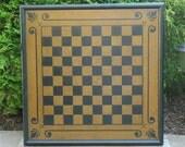 Primitive Wood Checkerboard Game Board Folk Art Gameboard