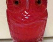 VALENTINESALE Imperial Ruby Red Slag Owl Slag Match Holder or Toothpick Holder
