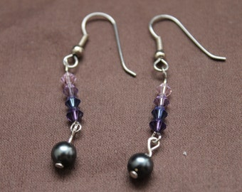 CLEARANCE Grey/Blue Pearl and Swarvorski Crystal Dangle Fish Hook Earrings