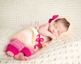 Vintage Bonnet and Crochet Baby Pants- Diaper Cover in Peach and Raspberry Available in Newborn to 6 Month Size- MADE TO ORDER