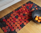 Hand made Rug. Wool Felt Pebbles. Multi color. Orange, Red, Gray  colors. Size 55 x 23,5 inches .