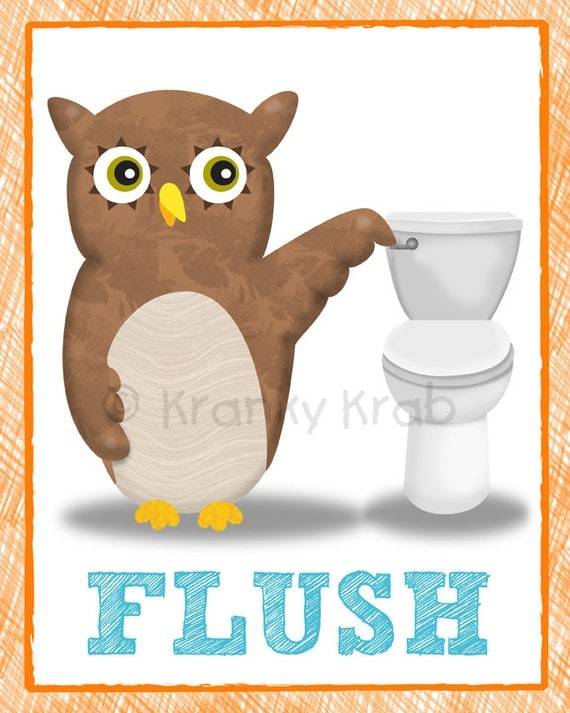 Bathroom Decor Owl Theme Children 39 S Bathroom Art Kids