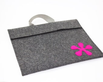 iPad, Playbook or Xoom Journal Style Case - Charcoal with velcro closure and strap - Landscape
