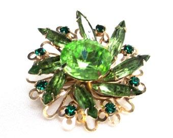 Vintage Emerald Green Rhinestone Brooch, Old