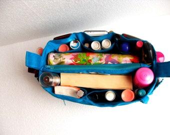 Bag organizer - Purse organizer insert in Blue fabric