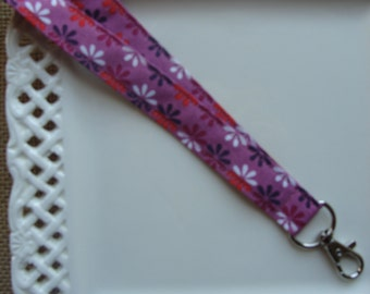 Fabric Lanyard - Multi Colored Flowers on Mauve