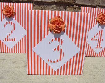 Wedding Table Numbers - Orange & White Stripe Table Markers -SET OF 6 - Or YOUR Qty.