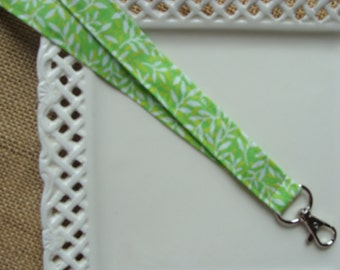 Fabric Lanyard ID -  White Leaves on Lime Green