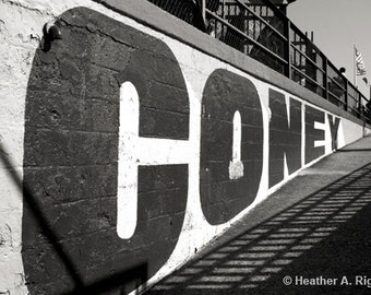 Coney Island Sign, Black and White, Travel, Amusement Park, Mural, New York City, black, white, photograph
