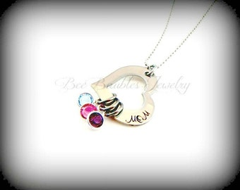 Hand Stamped Heart Washer Birthstone Hand Stamped Necklace - Mothers Necklace- Mothers Jewelry