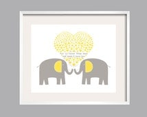 Yellow and Gray Elephant Nursery Art Print You Are My Sunshine Nursery Decor 11x14 choose your colors Baby Gift by YassisPlace 001