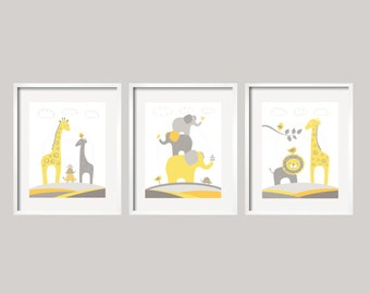Nursery Decor Yellow and Gray Safari Animal Art  Set of 3 prints, great baby shower gift for boy or girl, Nursery art 054