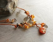 Crystal healing necklace 'Midnight Sun' with Smokey Quartz, Carnelian and Citrine - orange macrame, summer colors