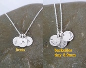Double Sided Tiny 3 Disc Initial Necklace - Triple Disc - Birthdate - Date - on Back - Tiny 8.9mm Sterling Silver Disc -