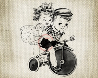 Adorable Children Riding Vintage Tricycle LARGE Digital Vintage Image Download Sheet Transfer To Totes Pillows Tea Towels T-Shirts -131