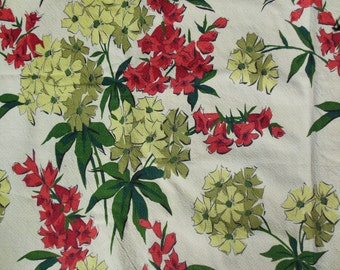 Floral Fabric, Vintage Waverly, Thick Like Bark Cloth Fabric