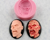 Zombie Cameo Mold 40mm x 30mm Silicone Mold Resin Polymer Clay Chocolate Fondant (328)