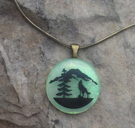 Mountain Wolf Necklace Dichroic Fused Glass Jewelry Wolf Pendant