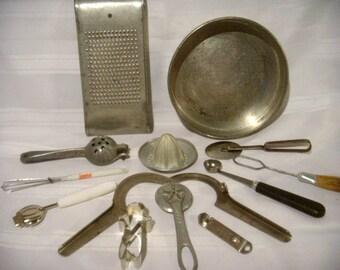 Vintage Kitchen Gadgets and Cooking Utensils, Baker's Dozen - Set of 13, Kitchen Shower Gift Idea, Country Kitchen Decor,