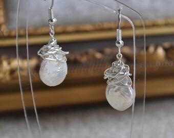 Silver wrapped freshwater pearl earrings - Handmade