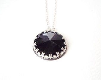 Art Deco Jewelry. Sterling Silver and Black Glass Victorian Necklace. Elegant Jewelry.