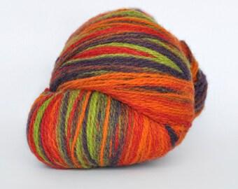 KAUNI Wool Yarn, Self-Striping Festival - Gradient of Green, Purple, Orange, Red, FREE SHIPPING worldwide