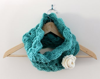 Women's Crocheted Cowl - Turquoise with Off White Crocheted Rose