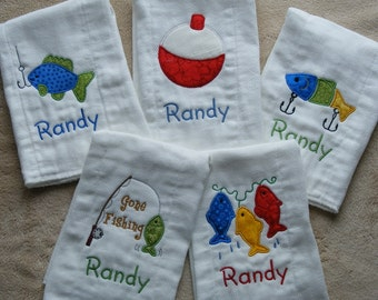 Personalized Fishing Burp Cloth Set SINGLES