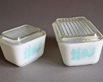 Two Vintage Pyrex Amish White and Blue Refrigerator Containers