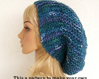 Instant download knitting hat pattern - adult slouch hat pdf knitting pattern - DIY winter hat pattern by Sandy Coastal Designs