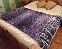 Ombre Afghan Stripe Throw Blanket with Purple, Blue, Black Fade and Metallic Fringe
