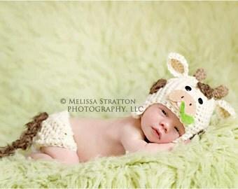 Newborn or 0-3 months  baby cow diaper   cover hat set crochet Newborn photo props photography boy girl