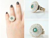 emerald Vintage Ottoman Style Dome Ring with Rhinestones, statement ring