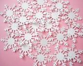 50 White Arctic Glittered Snowflake Confetti - No814