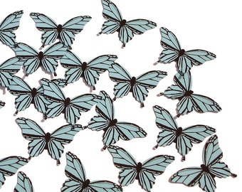 20 Light Blue Butterfly scrapbook embellishments, cutouts, confetti, card making, supply, handmade, party, decor, wedding - No813